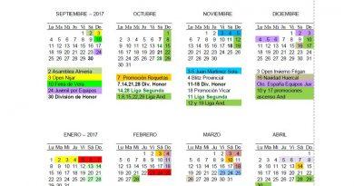 Calendario Deportivo de la Temporada 2017-2018