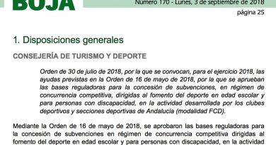 Subvenciones de la Junta de Andalucia para Clubes