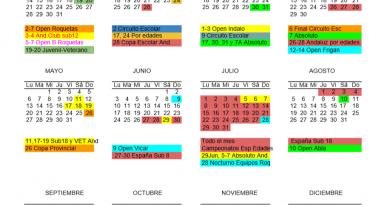 Calendario Deportivo de la Temporada 2018-2019