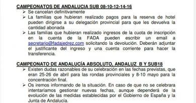Información sobre la situación de los campeonatos de Andalucía ante la prórroga del estado de Alarma.